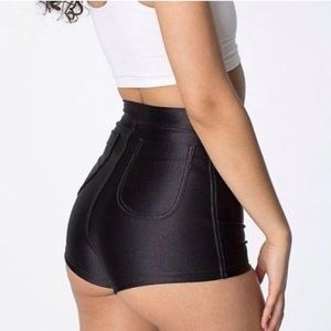 American Apparel Shorts - American Apparel High Rise Black Disco Shorts